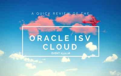 Oracle ISV Cloud Event Review 23/11/16