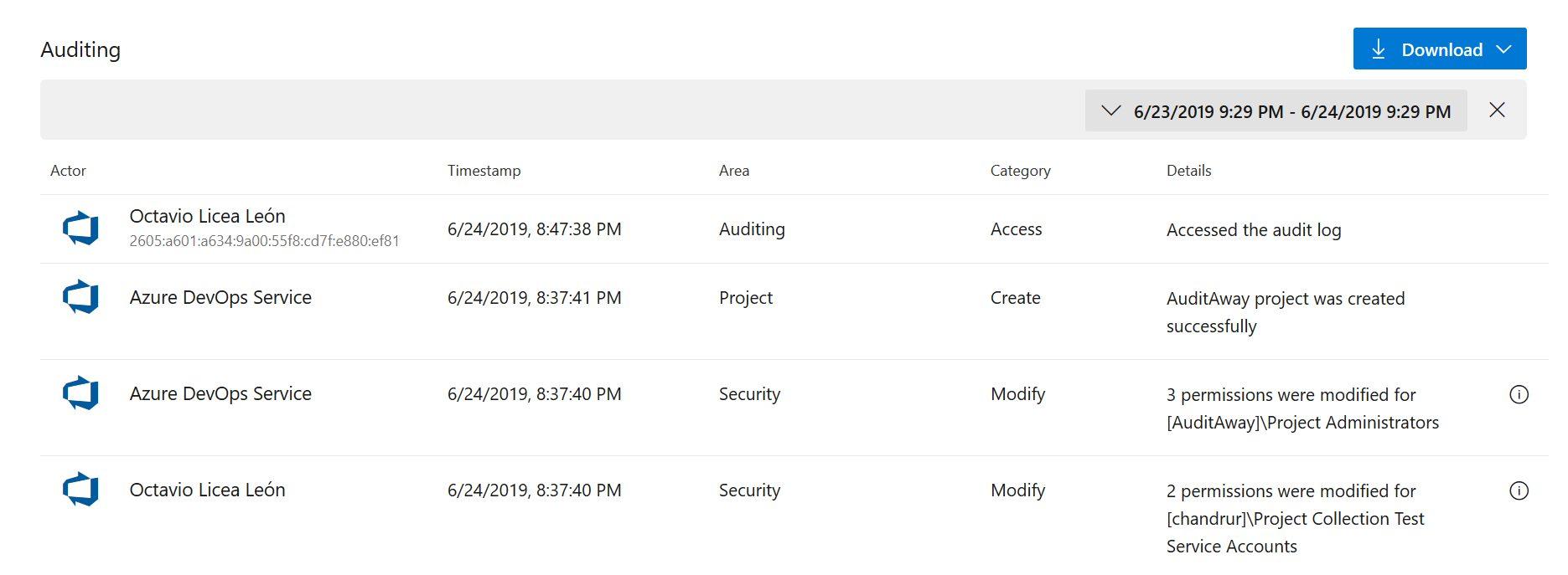 Azure DevOps Auditing